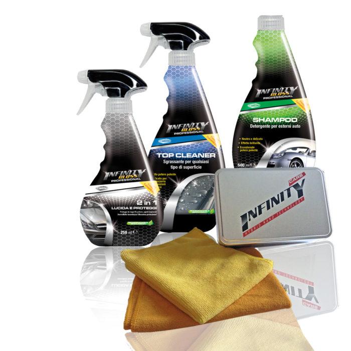 2in1 lucida e proteggi, Top Cleaner sgrassante per qualsiasi tipo di superfice, Shampoo detergente per esterni auto